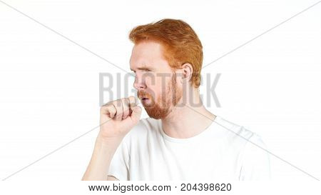 Young Man Suffering From A Bad Cough , Portrait White Backgroung