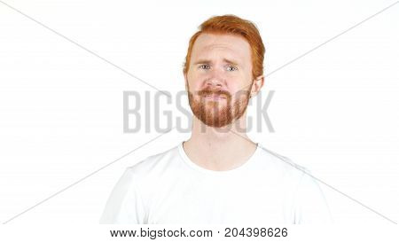 Frustrated Young, Depressed , Angry Red Hair Man Isolated On Wite Background