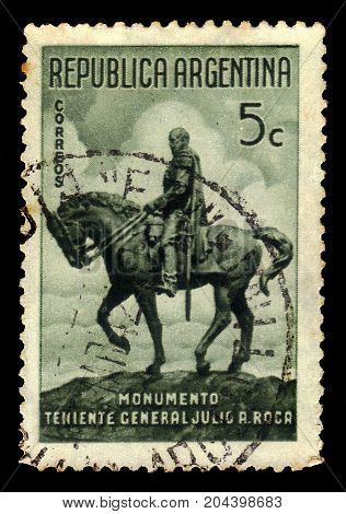 ARGENTINA - CIRCA 1941: a stamp printed in the Argentina shows equestrian statue of general Julio Roca, was 8th and 13th President of Argentina, circa 1941
