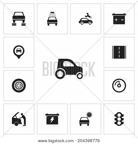 Set Of 13 Editable Car Icons. Includes Symbols Such As Mechanic, Stoplight, Accumulator And More