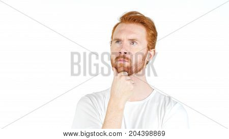 Thoughtful Red Hair Casual Young Man, Isolated Over A White Background