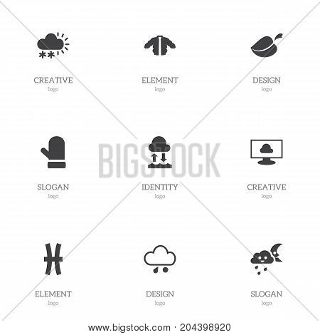 Set Of 9 Editable Climate Icons. Includes Symbols Such As Fishes, Cloud On The Screen, Evaporation Condensation And More