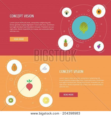 Flat Icons Ananas, Broccoli, Exotic Dessert And Other Vector Elements