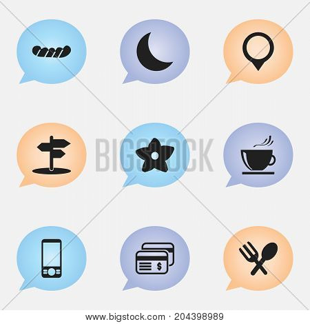 Set Of 9 Editable Travel Icons. Includes Symbols Such As Plastic Money, Crescent, Cutlery And More