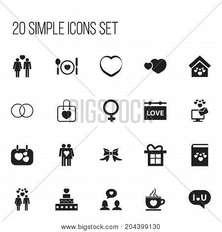 Set Of 20 Editable Amour Icons. Includes Symbols Such As Beloveds, Darling, Engagement And More