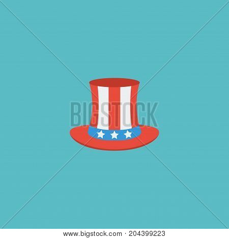 Flat Icon Uncle Sam Element. Vector Illustration Of Flat Icon Usa Hat Isolated On Clean Background
