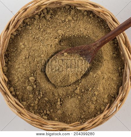 Brown Sugar. Mascavo In A Basket Bowl