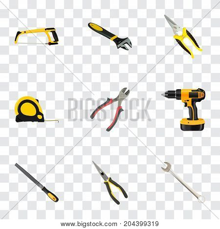 Realistic Spanner, Wrench, Arm-Saw And Other Vector Elements