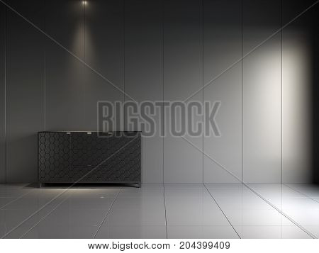 3d render of black glossy interior with vertical panels on wall and commode