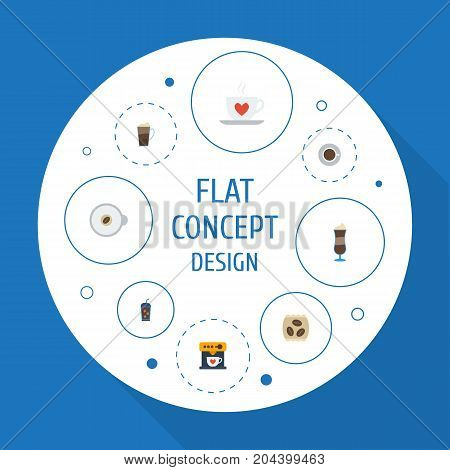 Flat Icons Latte, Cappuccino, Beverage And Other Vector Elements
