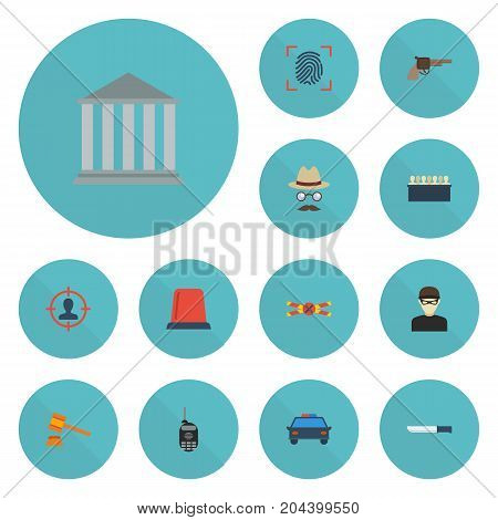 Flat Icons Thief, Revolver, Inspector And Other Vector Elements