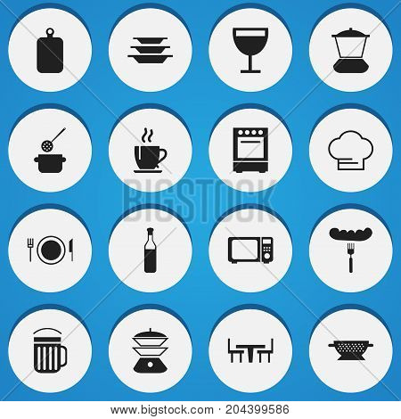 Set Of 16 Editable Cook Icons. Includes Symbols Such As Wave Oven, Coffee, Dining Table And More