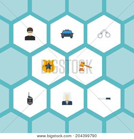 Flat Icons Police Car, Walkie-Talkie, Bayonet And Other Vector Elements