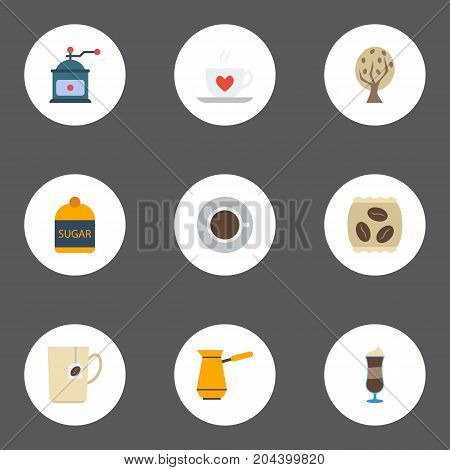 Flat Icons Cup, Sweetener, Coffee Mill And Other Vector Elements
