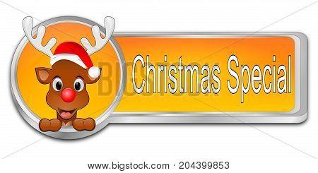 orange Christmas Special button - 3D illustration