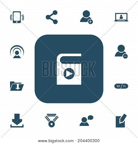 Set Of 13 Editable Internet Icons. Includes Symbols Such As Wifi, Delete Member, Dossier And More