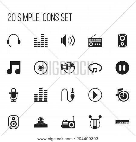 Set Of 20 Editable Music Icons. Includes Symbols Such As Cd, Musical Instrument, Bar Wave And More