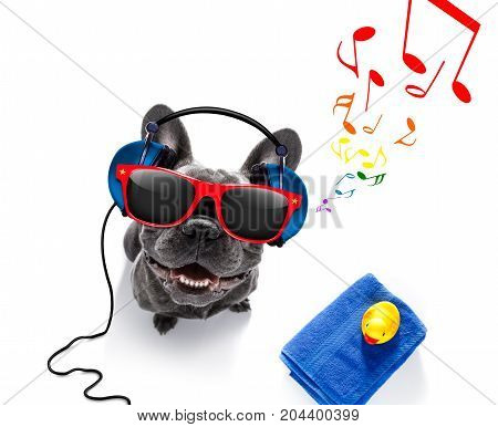 Dog With Music Earphones