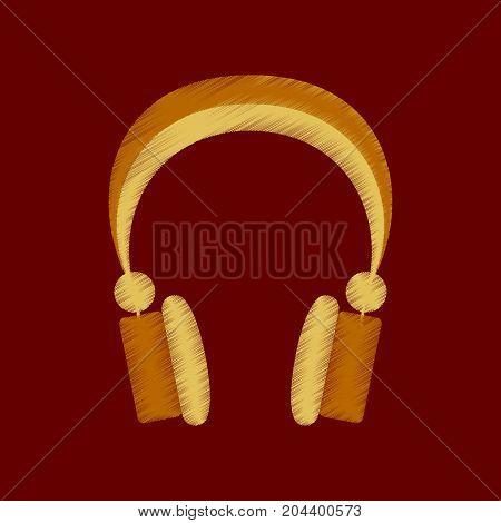 flat shading style icon headphones stereo equipment