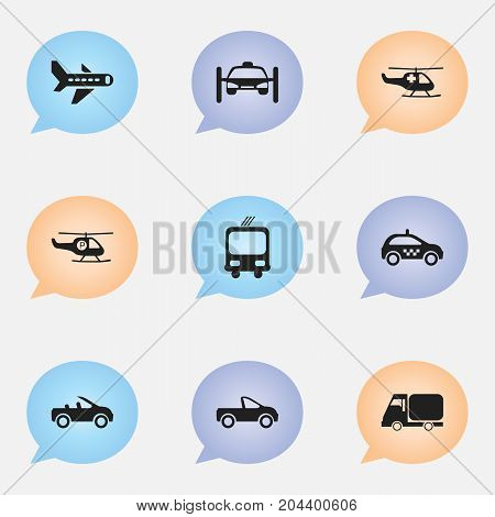 Set Of 9 Editable Shipment Icons. Includes Symbols Such As Washing Auto, Transportation, Carriage And More