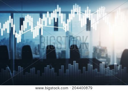 Modern blurry meeting room with equipment city view and forex chart. Fund management concept. Double exposure