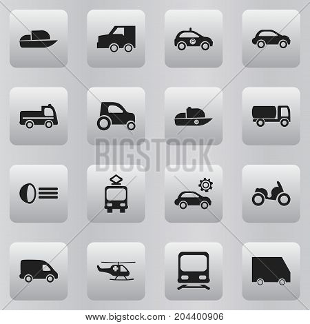Set Of 16 Editable Shipment Icons. Includes Symbols Such As Part Of Car, Garage, Car Vehicle And More