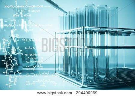 Blue lab equipment and chemical formulas on light background. Biotechnology concept. 3D Rendering