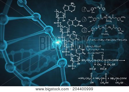 Abstract background with blue dna molecule and chemical formulas. Medicine and chemistry concept. 3D Rendering