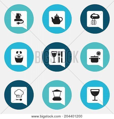 Set Of 9 Editable Restaurant Icons. Includes Symbols Such As Mixer, Tableware, Break Eggs And More