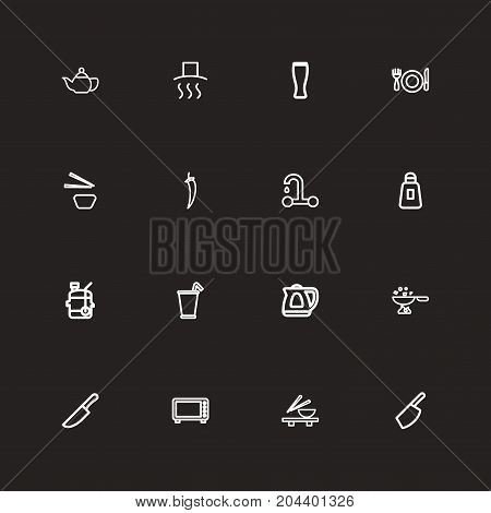 Set Of 16 Editable Cooking Outline Icons. Includes Symbols Such As Kettle, Set, Food Cutter And More