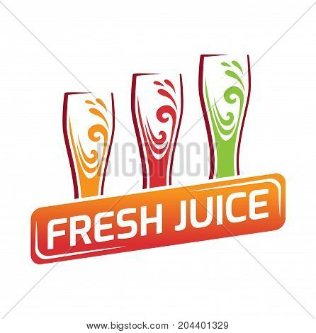Three glasses with different juice, red, orange, green. Apple, orange and pomegranate juice. Logo for fresh juices. Symbol color glass flat style.