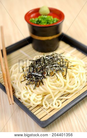 close up of dry noodles japanese food