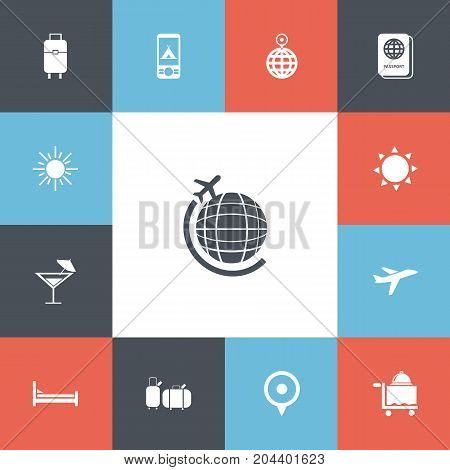 Set Of 13 Editable Holiday Icons. Includes Symbols Such As Bag, Suitcases, Globe Trip And More