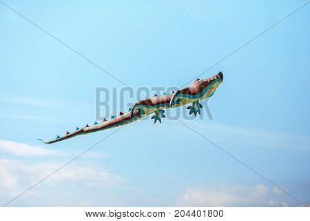 air crocodile kite flying high in the sky. Kite festival