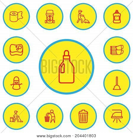 Set Of 13 Editable Hygiene Outline Icons. Includes Symbols Such As Hygienic Roll, Garbage Bin, Pressboard And More