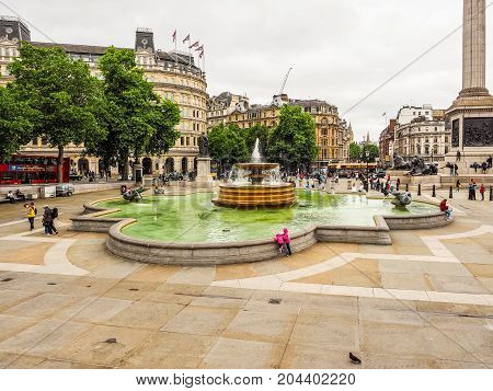 People In Trafalgar Square In London (hdr)