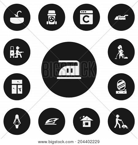 Set Of 13 Editable Cleanup Icons. Includes Symbols Such As Wall Mirror, Appliance, Vacuuming And More