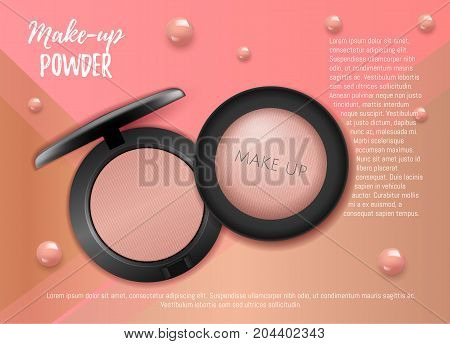 Modern  Premium VIP cosmetic ads, pink 3D cheek blush or make up promotion powder ads, cosmetics package background. Make-up foundation for sale. Elegant face powder compact illustration vector design