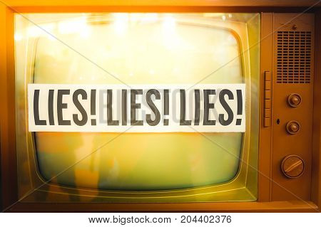 lies of mainstream media propaganda disinformation old tv label vintage
