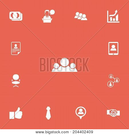 Set Of 13 Editable Business Icons. Includes Symbols Such As Team, Greeting, Ergonomic Seat And More