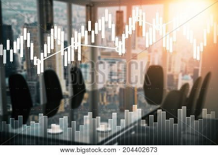 Modern blurry conference room with equipment city view and forex chart. Trade concept. Double exposure