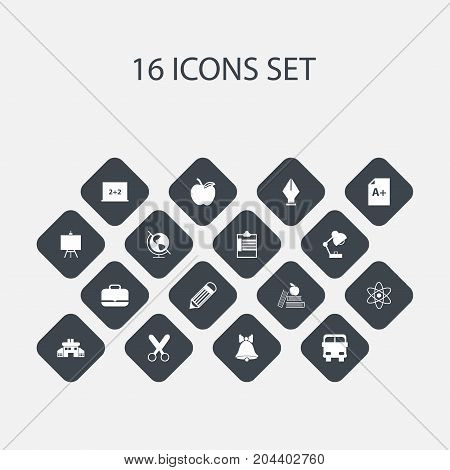Set Of 16 Editable School Icons. Includes Symbols Such As Earth Planet, Transport Vehicle, Portfolio And More