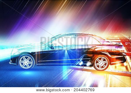 Side view of abstract glowing car. Art concept. Double exposure