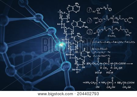 Abstract background with blue dna molecule and chemical formulas. Medicine and innovation concept. 3D Rendering