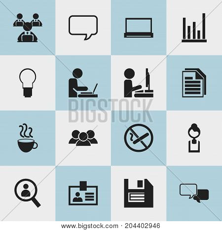 Set Of 16 Editable Bureau Icons. Includes Symbols Such As Light, Smoking Forbidden, Worker With Laptop And More