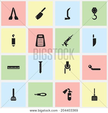 Set Of 16 Editable Tools Icons. Includes Symbols Such As Sealant, Kitchen Spatula, Dowel And More