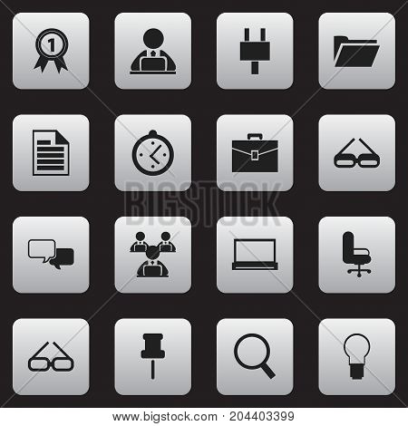 Set Of 16 Editable Bureau Icons. Includes Symbols Such As Workman In Laptop, Monitor, Badge And More