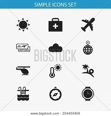 Set Of 12 Editable Trip Icons. Includes Symbols Such As Point, Overcast, Compass And More