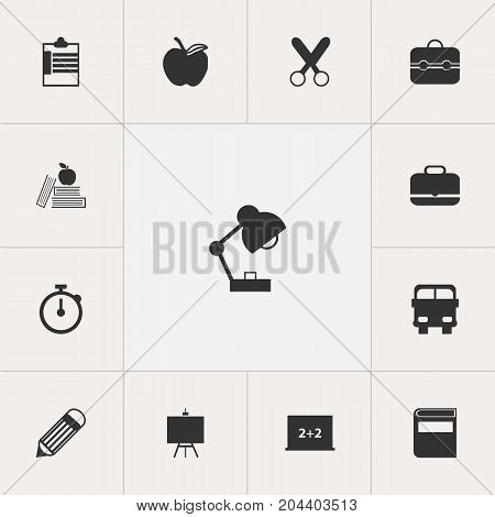Set Of 13 Editable Education Icons. Includes Symbols Such As Apple , Supervision List  , Painter's Stand
