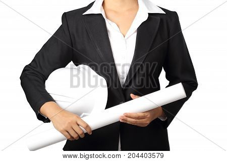 architecture holding blueprint and safety helmet in her hand isolated on white background clipping path.